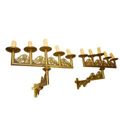 very large French  antiques  19 th century brass sconces