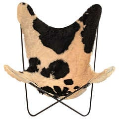 Mid Century Butterfly Chair with Original Cow Hide