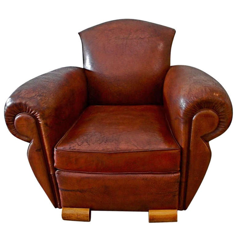 French Art Deco Leather Club Chair For Sale At 1stdibs