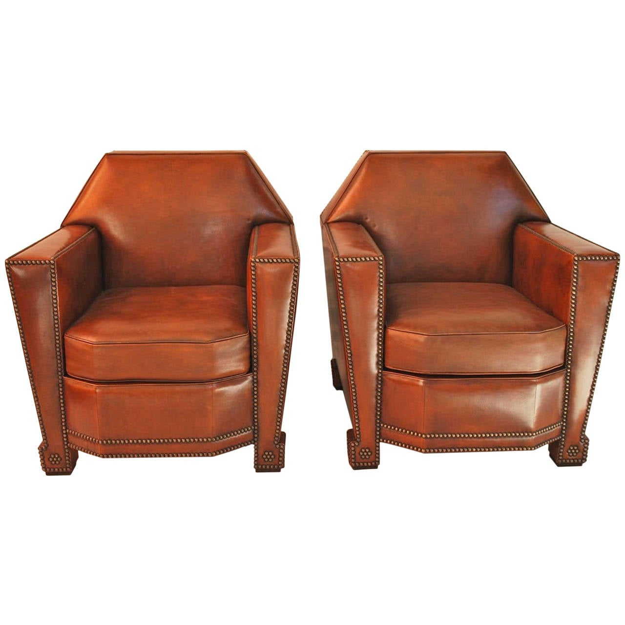 Pair Of French Art Deco Style Club Chairs At 1stdibs