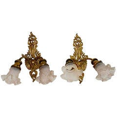 antique pair of French Louis XV style  sconces