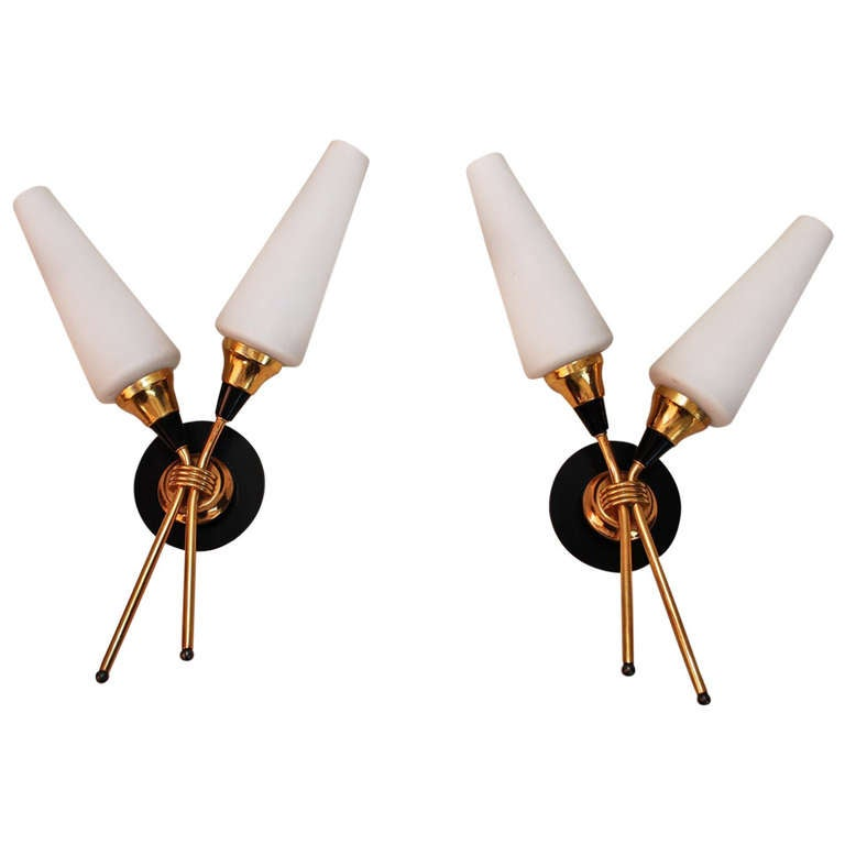 Antique Pair of French Midcentury Sconces For Sale