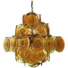 1960 Murano Amber Glass Light Design by Vistosi