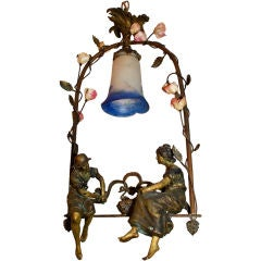 Antique french bronze light signed by  FUNIER