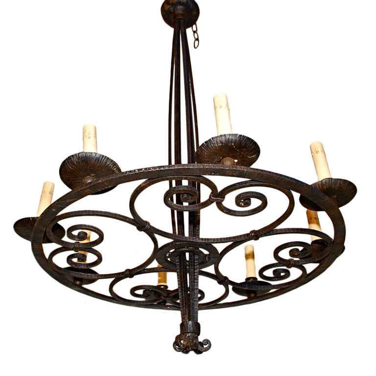 antique French Art Deco wrought iron chandelier