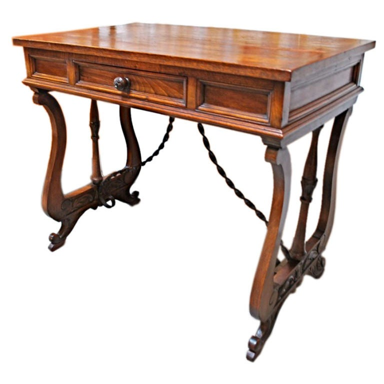 Antique French desk/ console - Antique French Counter Desk With Wellington-Style Cabinet For Sale