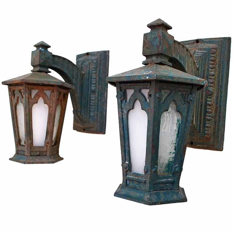 Pair of Antique cast iron outdoor sconces at 1stdibs
