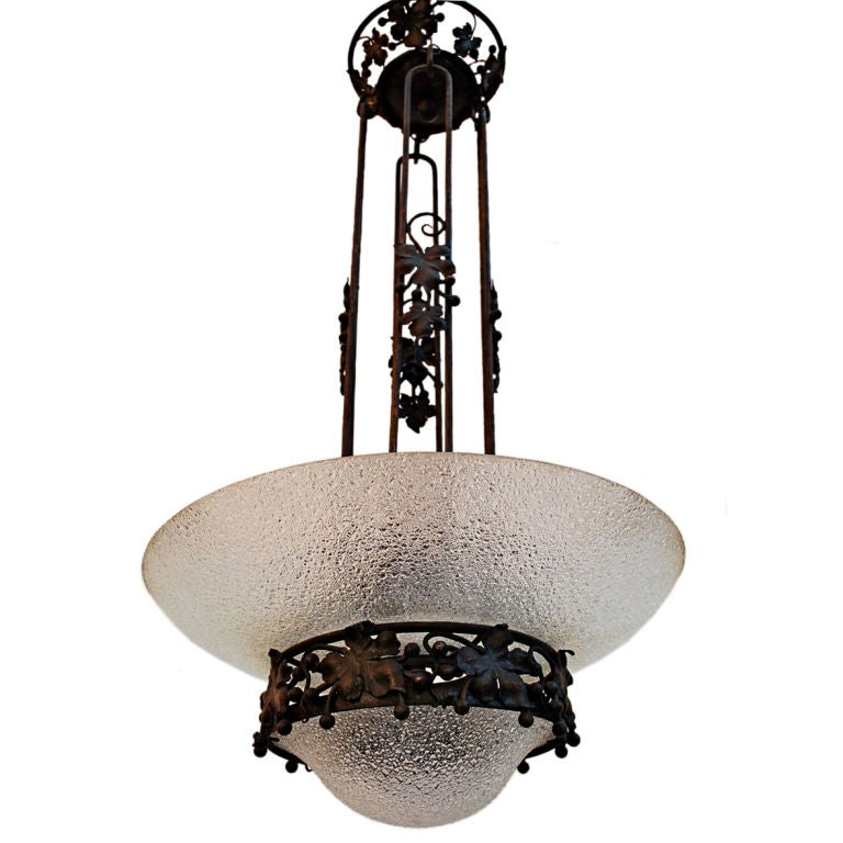 Antique French iron light by J.M PREAU
