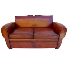 Antique French 1920  leather  sofa