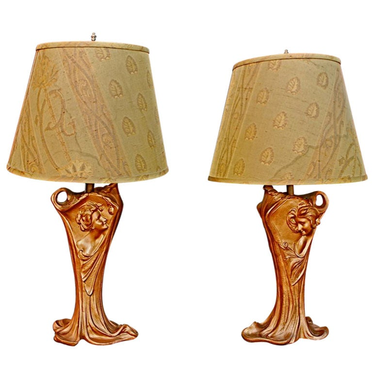 antique pair of french art nouveau lamps at 1stdibs. Black Bedroom Furniture Sets. Home Design Ideas