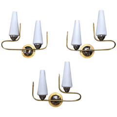 Set of Three French Mid-Century Sconces by Maison Arlus