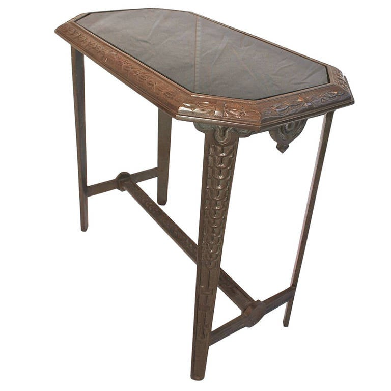 Beautiful and Heavy Cast Iron, Art Deco Side Table