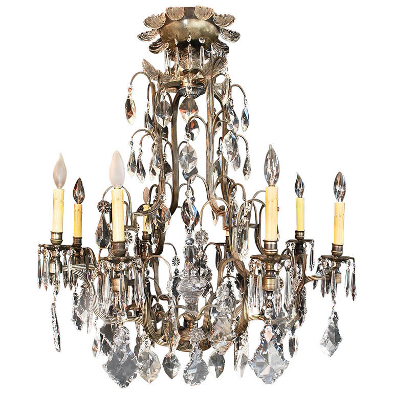 Very Large French, 1940 Crystal Chandelier
