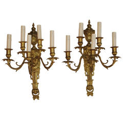 Large Pair of French 1920s Bronze Sconces in Louis XV Style