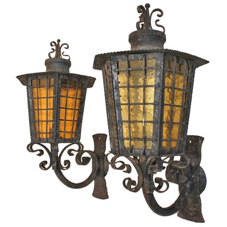 Metal Outdoor Wall Sconces : Antique Pair of Large French, 1940 Wrought Iron Outdoor Sconces at 1stdibs