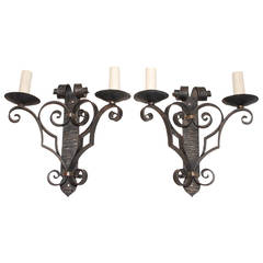 Antique Pair of French, 1940, Wrought Iron Sconces