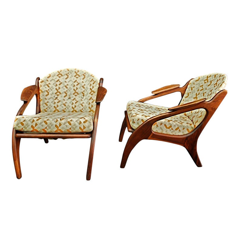 Pair of mid century chairs by ADRIAN PEARSALL  w/foot stool