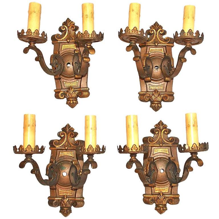 Antique Set of Four 1920 Bronze Sconces