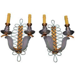 Antique  and rare pair of French sconces by EZAN