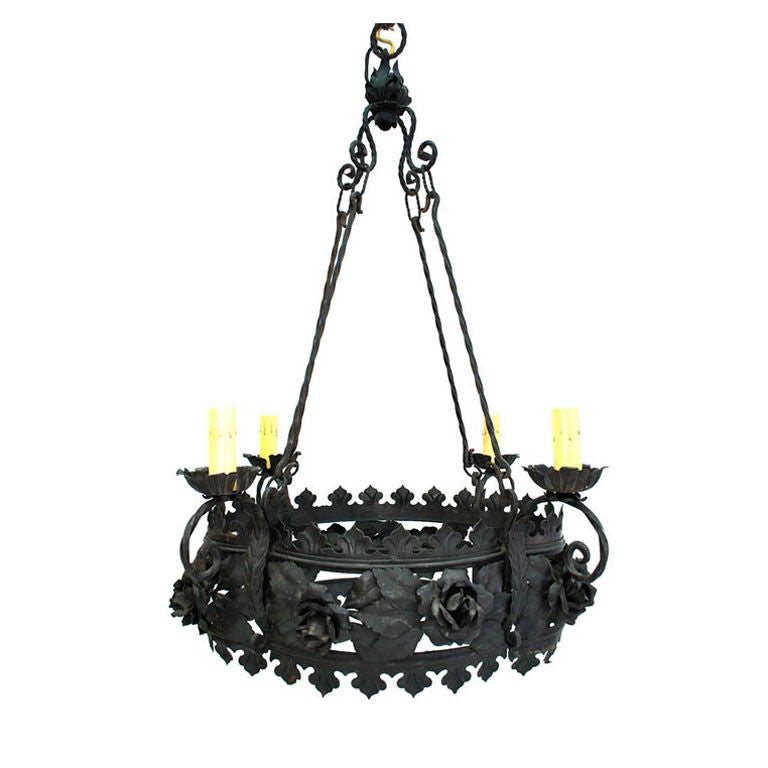 Large antique french wrought iron chandelier