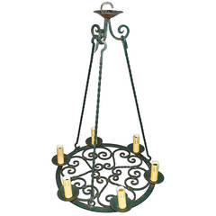 French 1930 Dark Green, Wrought Iron Chandelier
