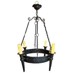 Antique french hand made wrought iron chandelier