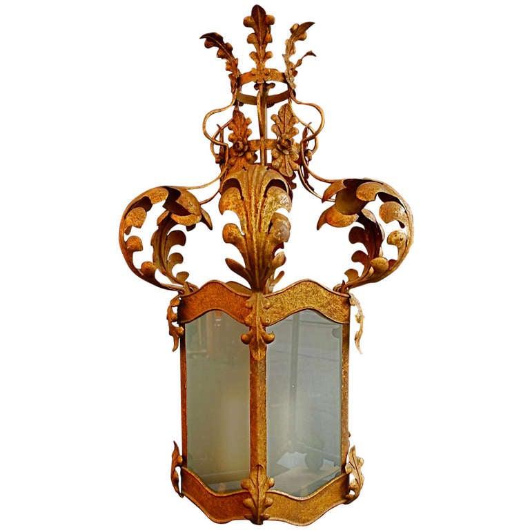 large Italian wrought iron lantern