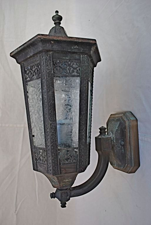 Antique Outdoor Wall Sconces : Antique pair of outdoor bronze/copper sconces at 1stdibs