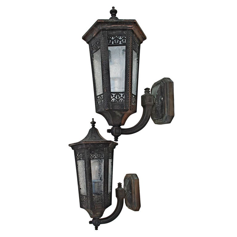 Antique pair of outdoor bronze/copper sconces at 1stdibs