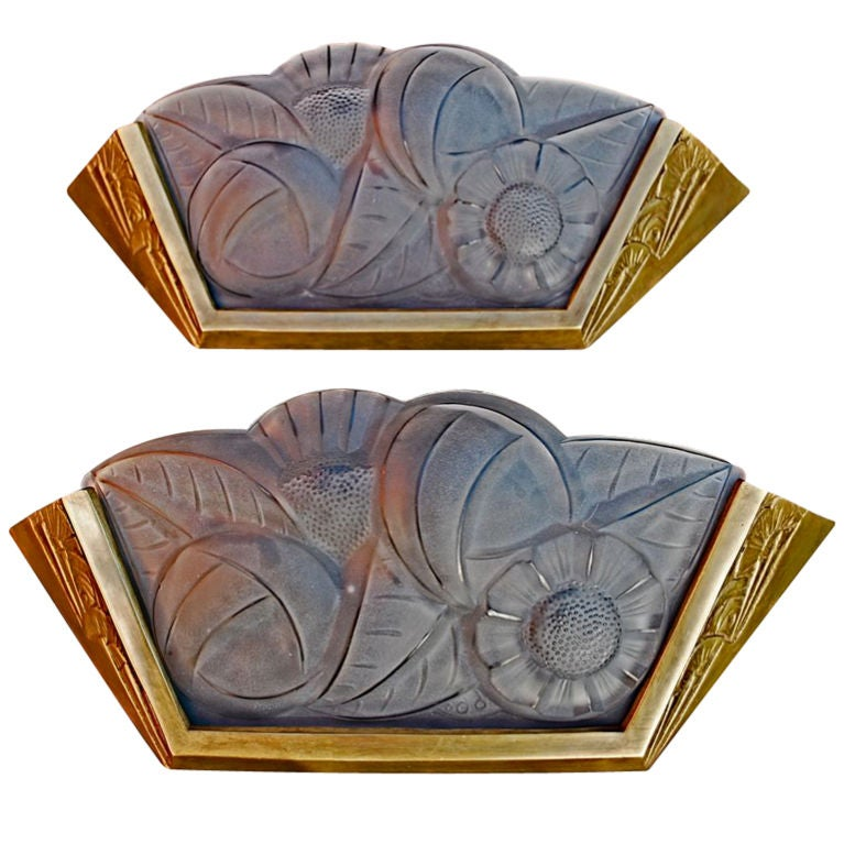 Large Art Deco Wall Sconces : Large Antique pair of French Art deco sconces by DEGUE at 1stdibs