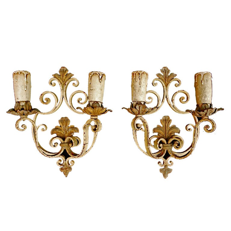 Antique Pair of French Wrought Iron Sconces