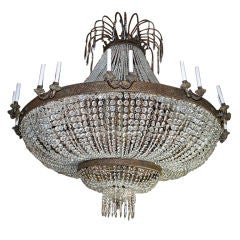 A rare Magnificent  very large crystal/bronze  chandelier