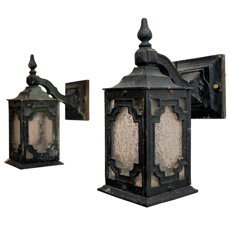 Antique Outdoor Wall Sconces : antique pair crafman /art and craft bronze outdoor sconces at 1stdibs
