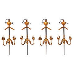 Set of Four large Sword and Iron Sconces