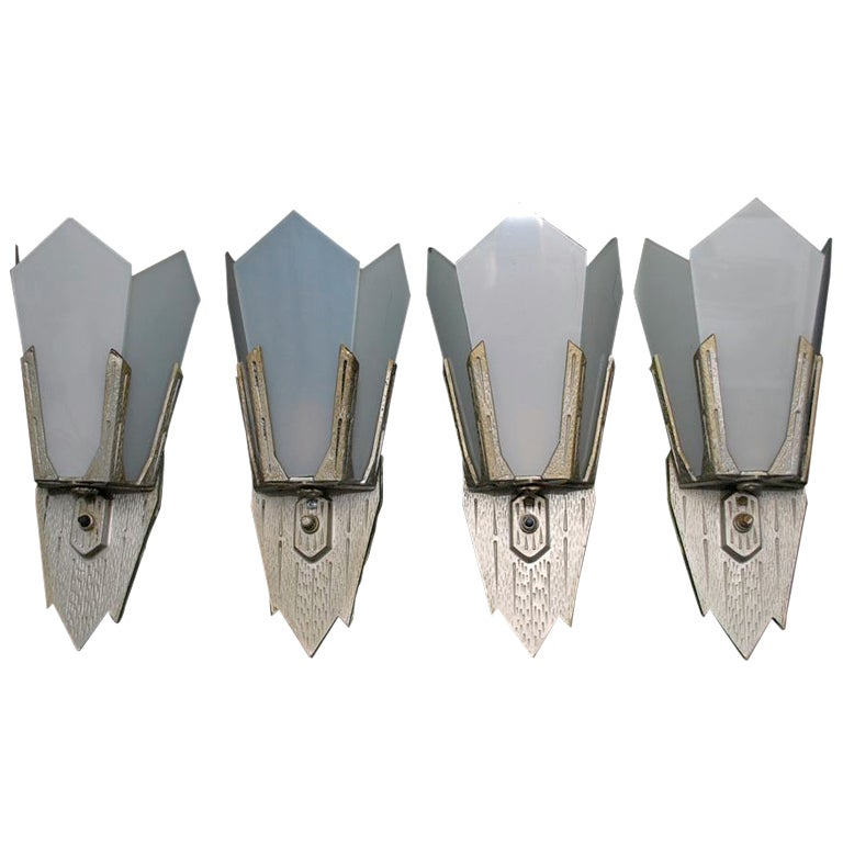 Antique Set Of Four Art Deco Sconces  ( two are sold )