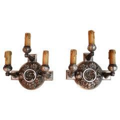 Antique pair of French Bronze Art deco sconces