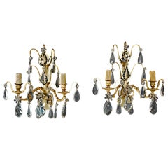 pair of French bronze/crystal  sconces attributed to  bagues