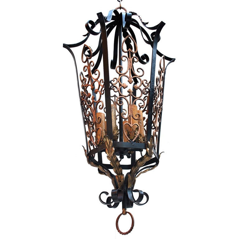 Large Antique wrought iron and bronze lantern