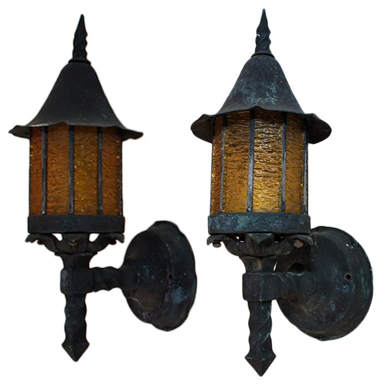 Antique Outdoor Wall Sconces : Antique pair art and craft/crafman/english tudor copper outdoor sconces at 1stdibs