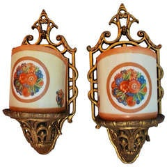 Rare Set of Eight Art Deco Sconces  ( four are sold )