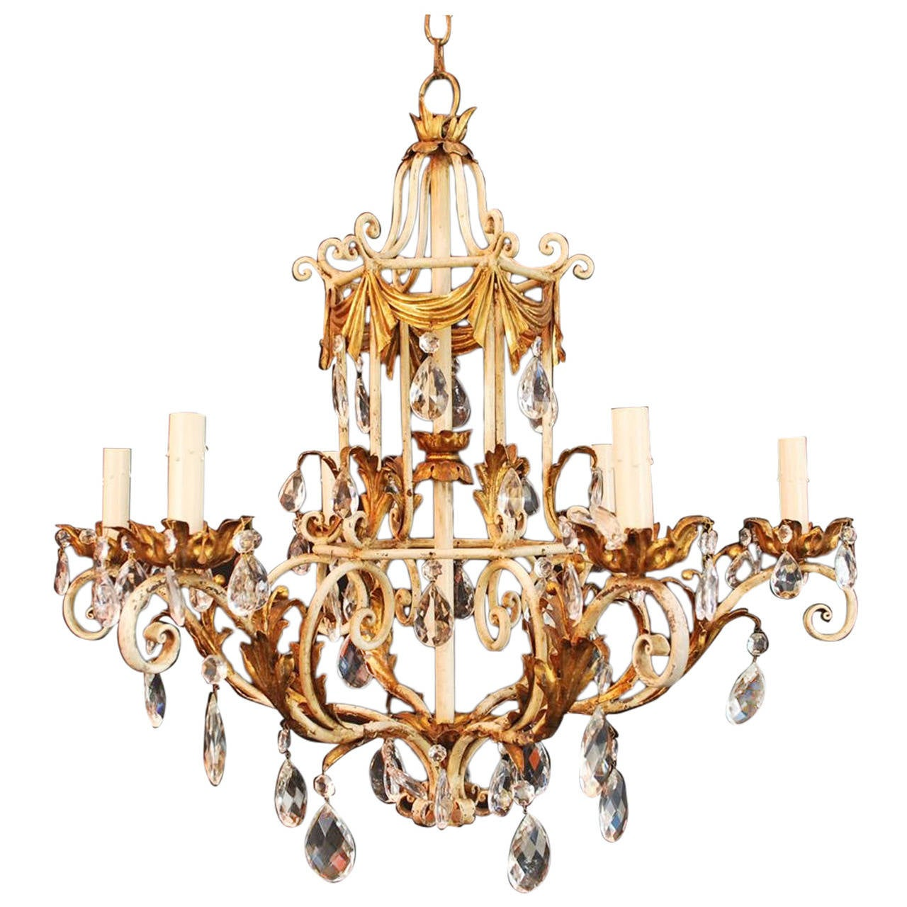 1950 Italian Wrought Iron And Crystal Chandelier For Sale