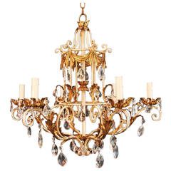1950 Italian Wrought Iron and Crystal Chandelier