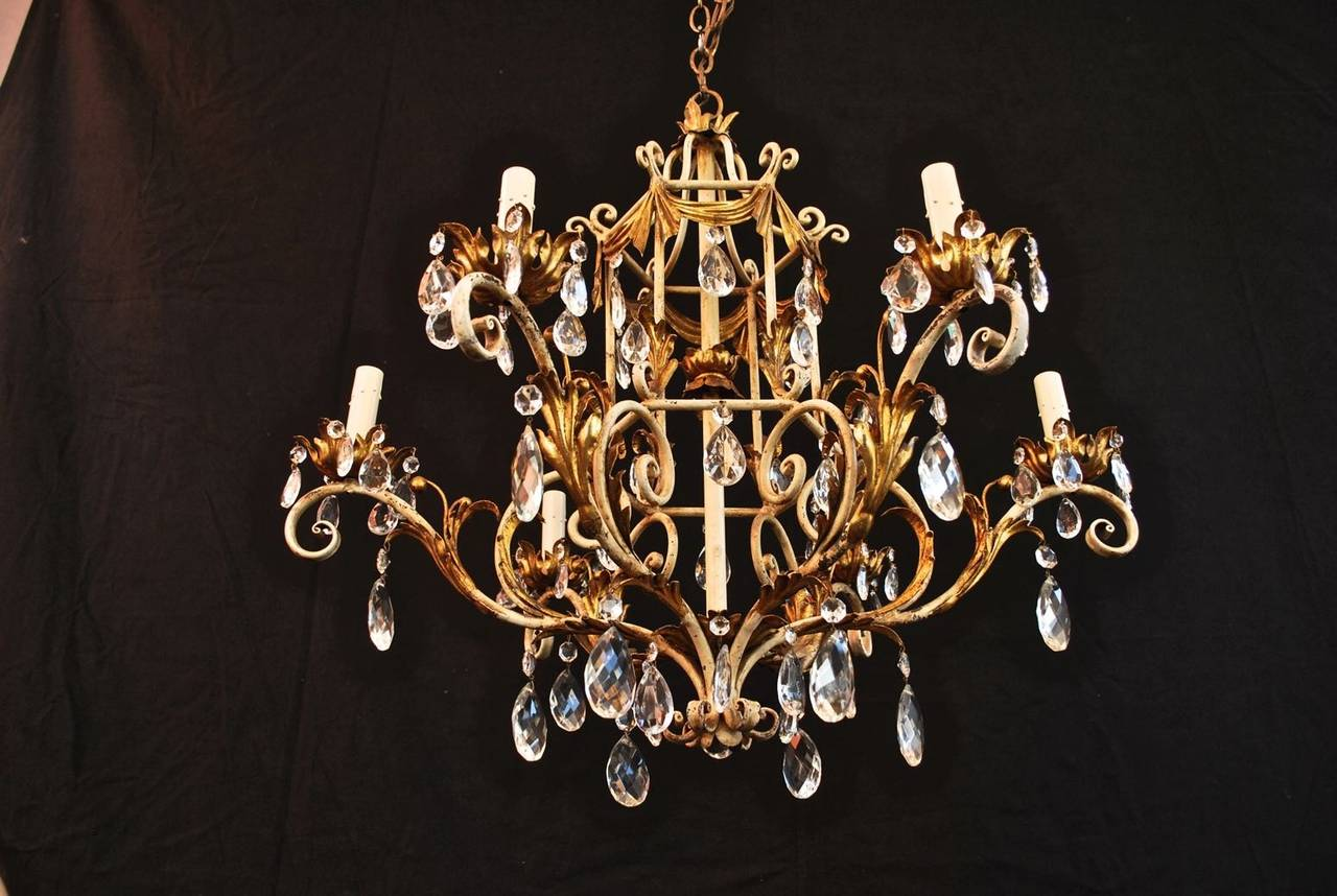 1950 italian wrought iron and crystal chandelier for sale at 1stdibs 1950 italian wrought iron and crystal chandelier in good condition for sale in los angeles arubaitofo Choice Image