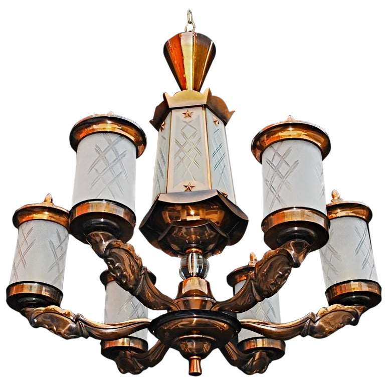 Antique French  Art Deco chandelier