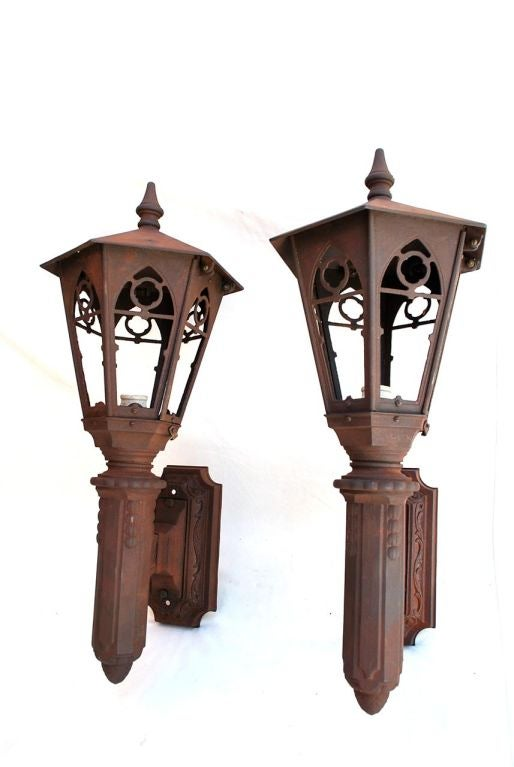 Antique Outdoor Wall Sconces : Large Antique Pair of Cast Iron Outdoor Sconces at 1stdibs