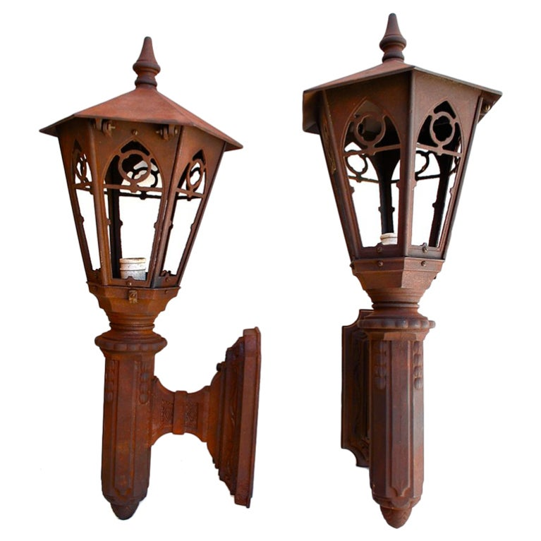 Large Antique Pair of Cast Iron Outdoor Sconces at 1stdibs