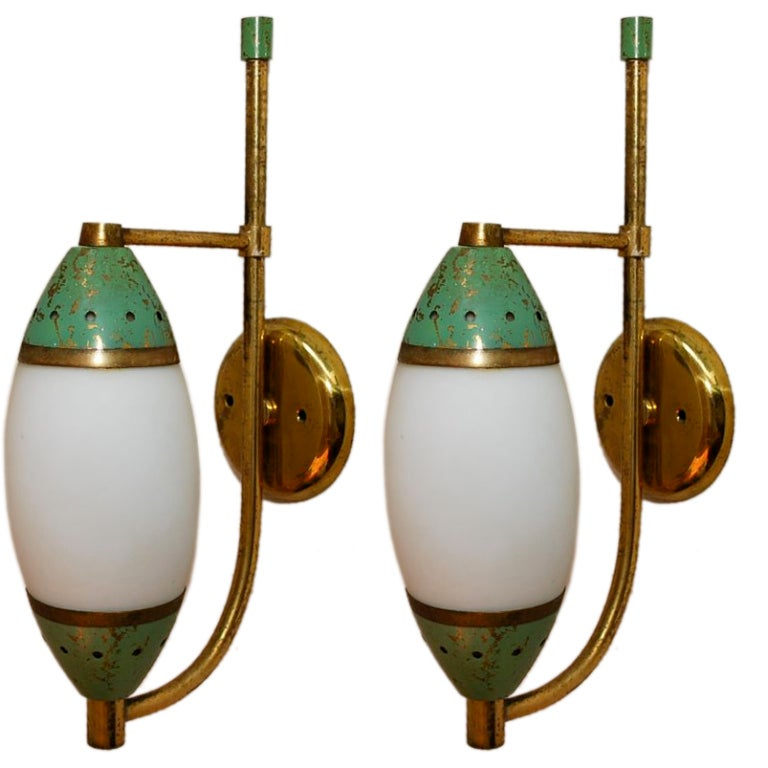 Antique Italian Wall Sconces : Antique Pair of Italian Sconces by Stilnovo at 1stdibs