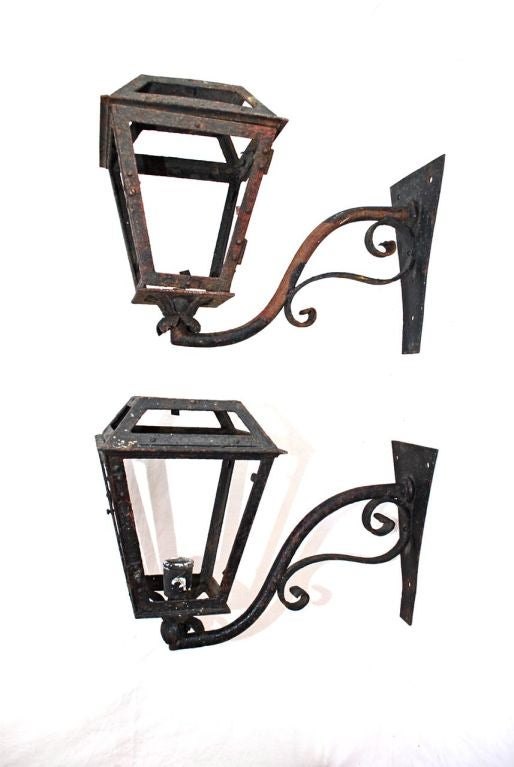 French Iron Wall Sconces : Pair of French 19th Century Wrought Iron Outdoor Sconces For Sale at 1stdibs