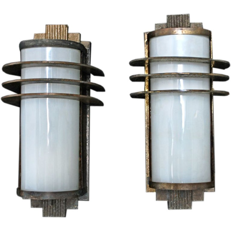 Antique pair of art deco sconces indoor outdoor at 1stdibs for Art deco exterior light fixtures