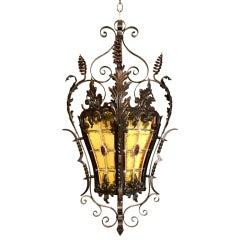 Antique  French Louis Xv Style Wrought  Iron Lantern